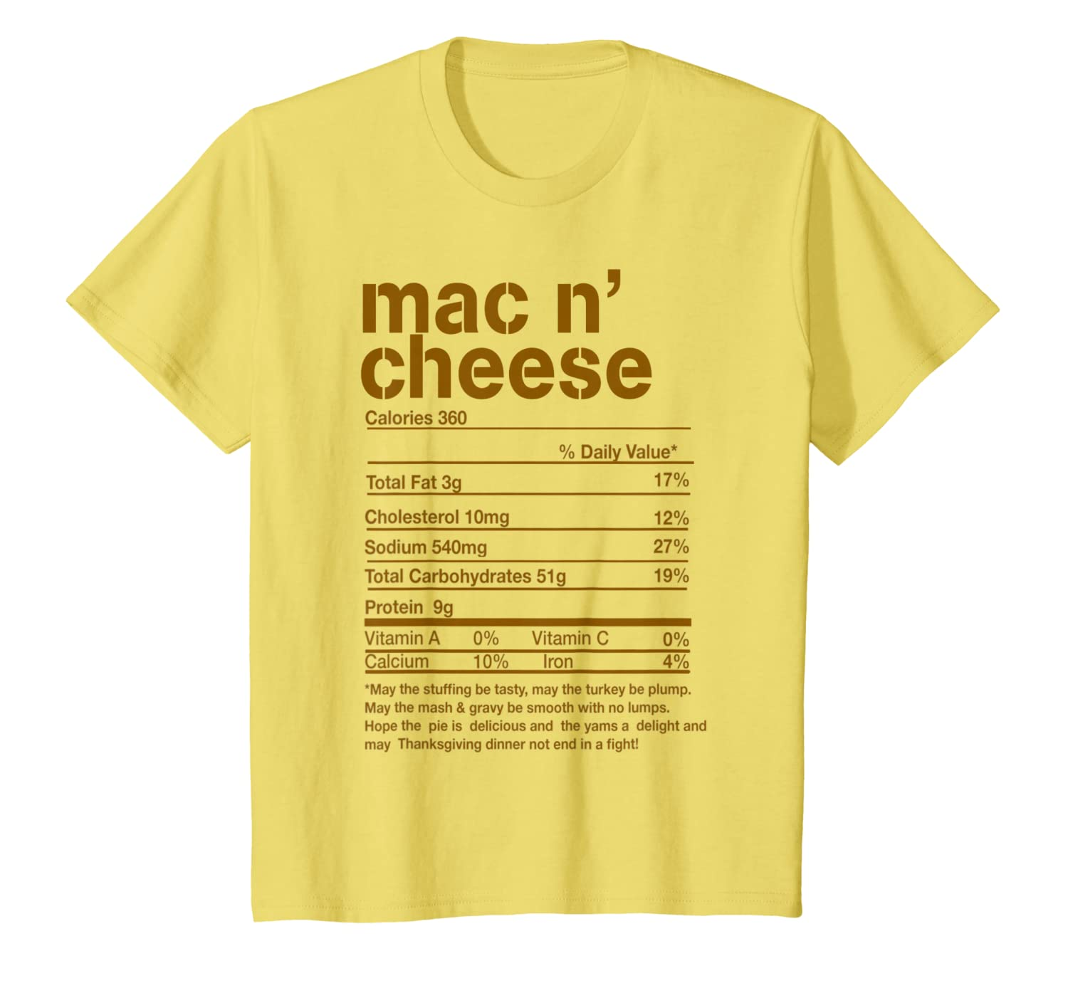 Funny Mac N' Cheese Nutrition Facts Thanksgiving Matching T-Shirt-Cotoa