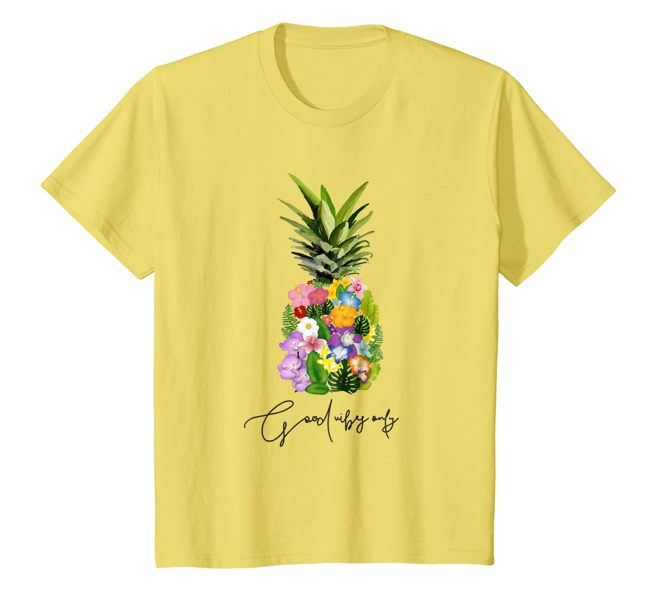 f1a46fd75371fe Amazon.com  Pineapple Flower Yellow Tee Good Vibes Floral Trendy Graphic   Clothing