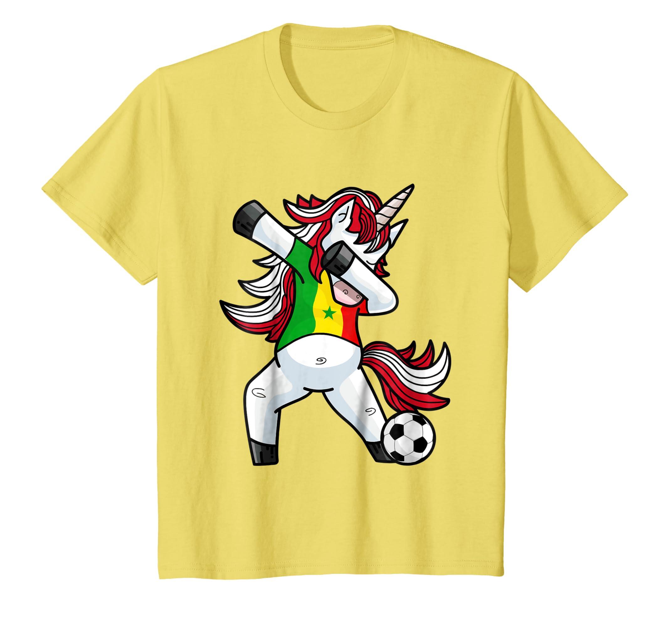 83e96e011 Amazon.com  Dabbing Soccer Unicorn T Shirt Senegal Senegaleses Football   Clothing