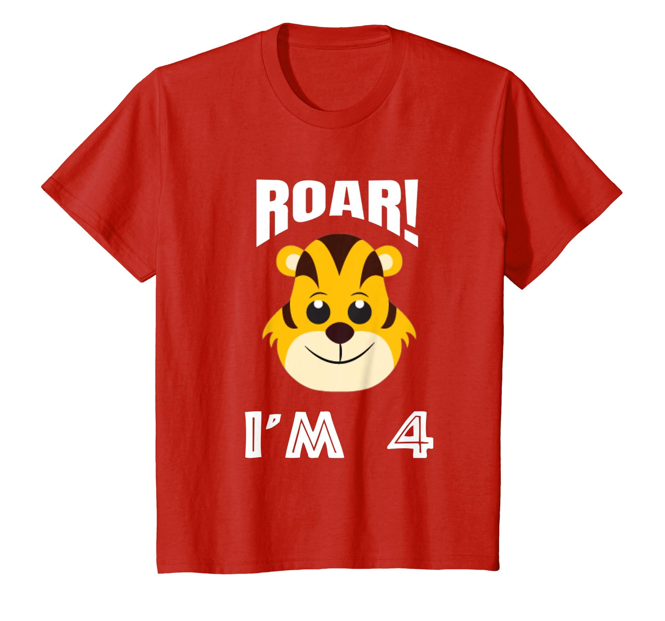 Amazon Kids 4th Birthday Shirt Boy Roar Im 4 Tiger Gift Clothing