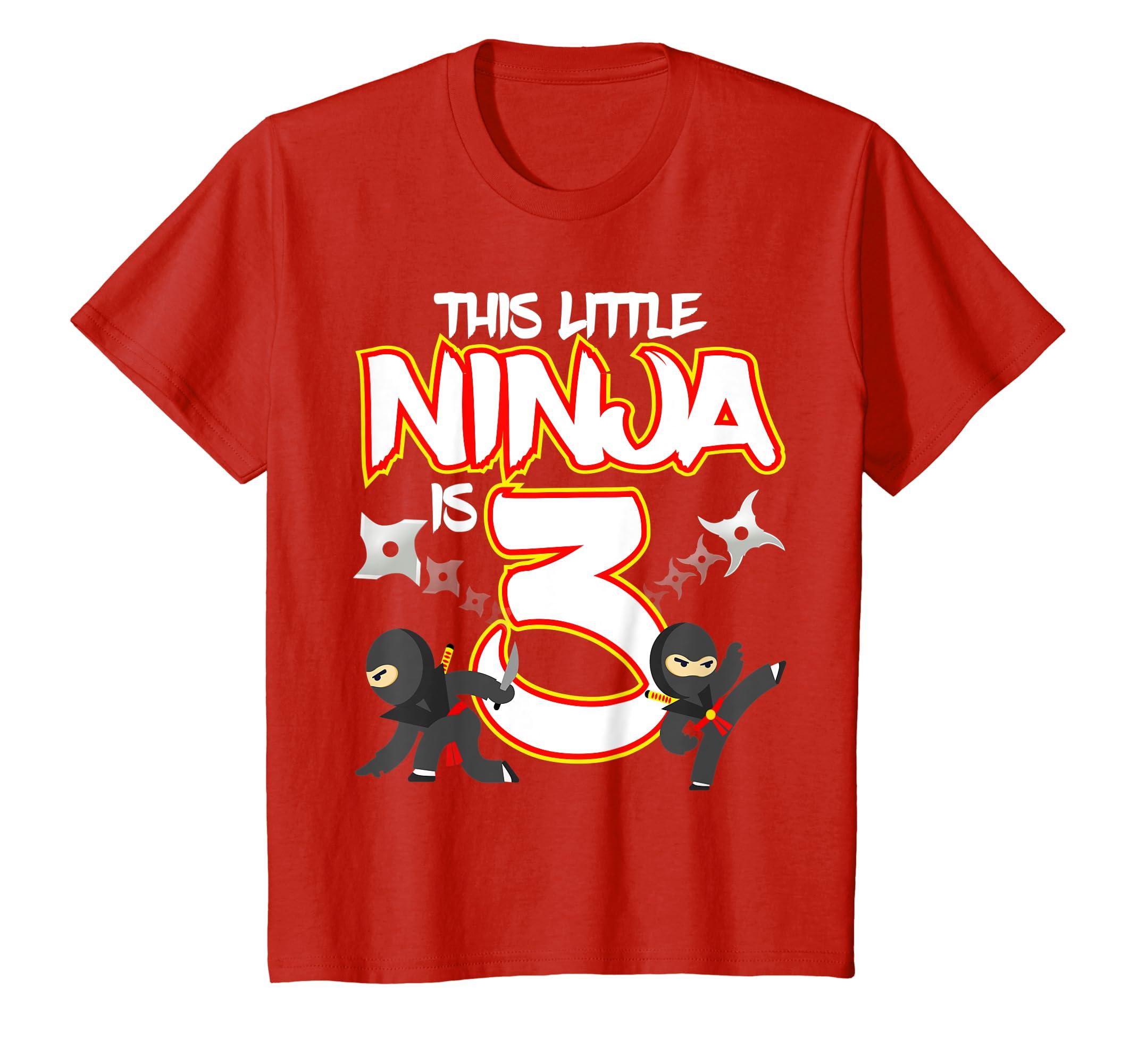 Amazon.com: Kids 3 Year Old Ninja Birthday Shirt Martial ...