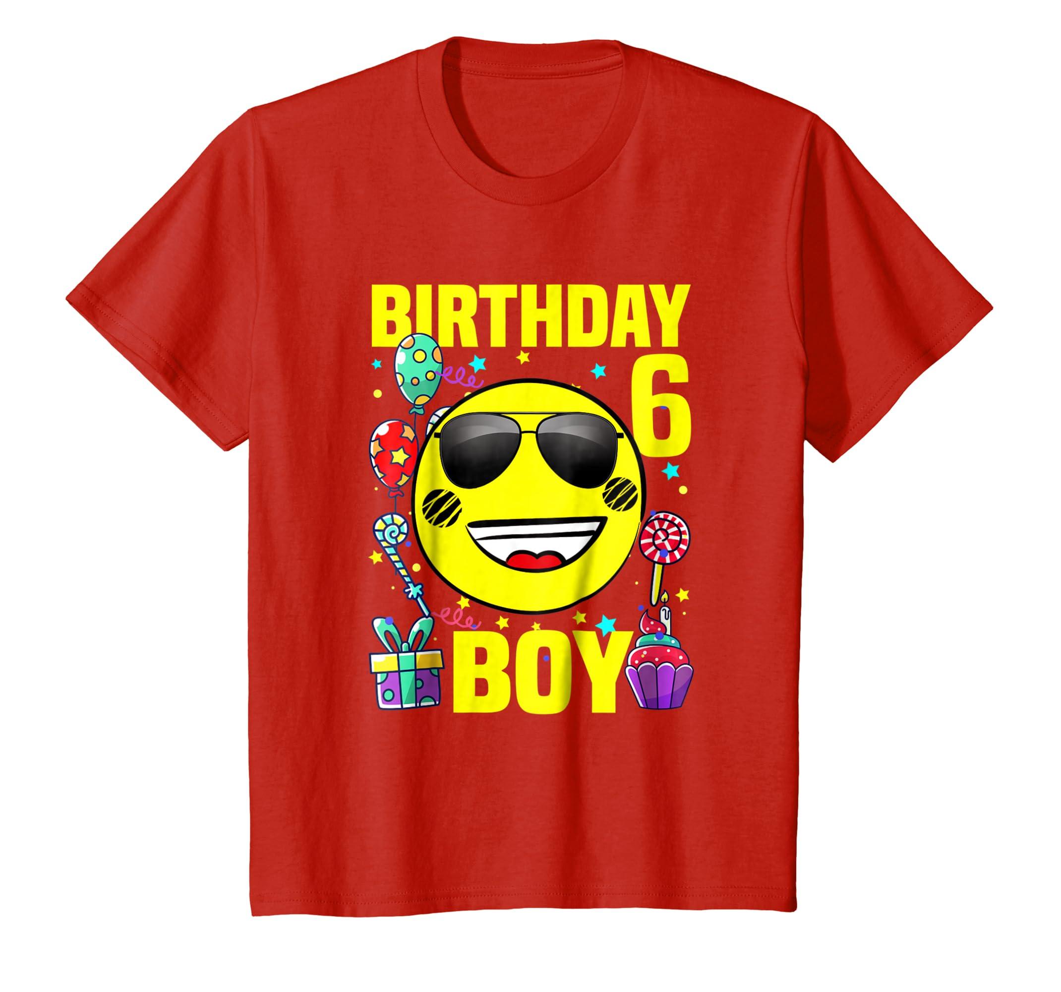 Amazon Kids Funny Emoji 6th Birthday Boy T Shirt Gift 6 Years Old Clothing