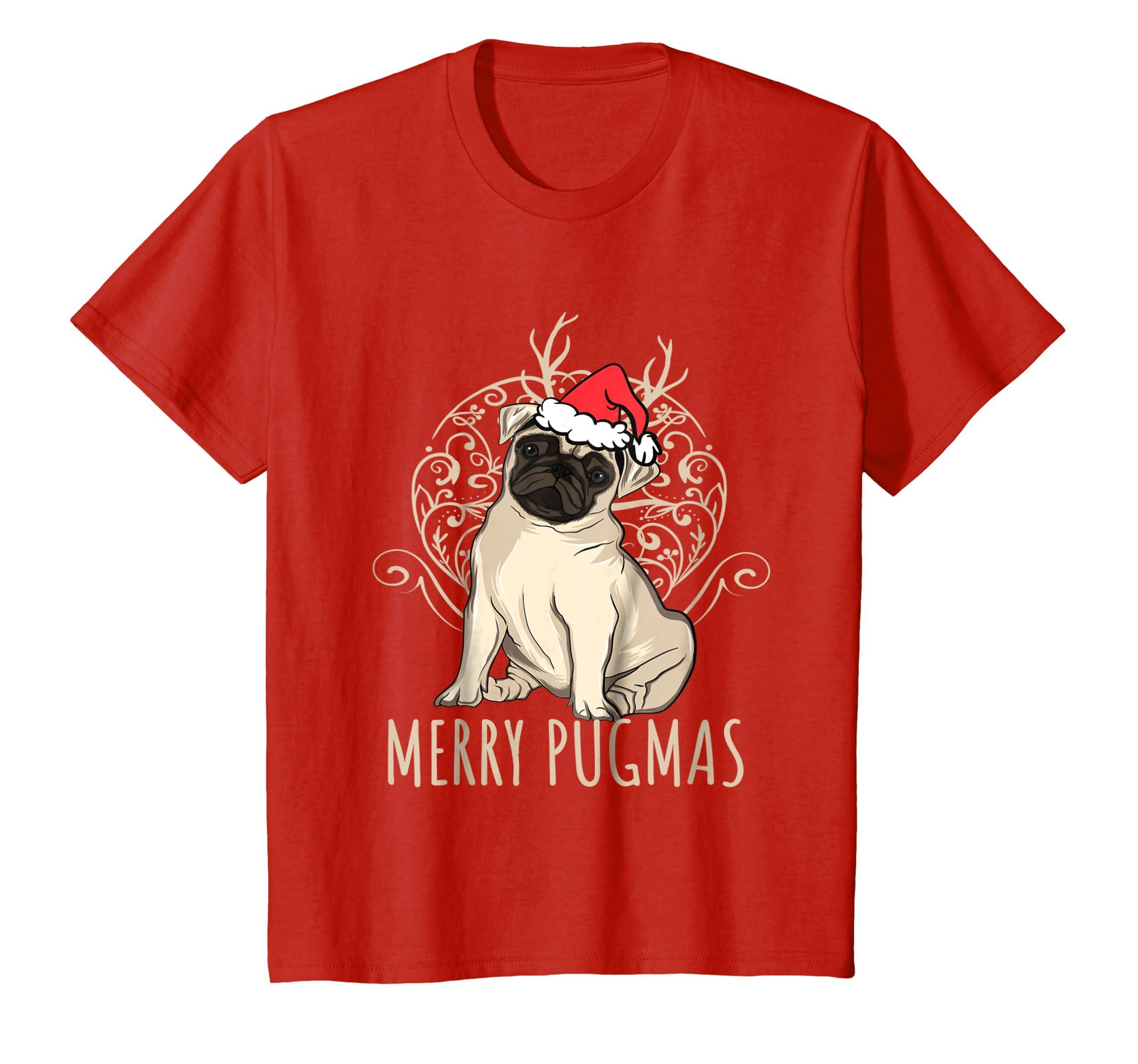 d4192654 Amazon.com: Merry Pugmas Funny Pug Christmas TShirt: Clothing