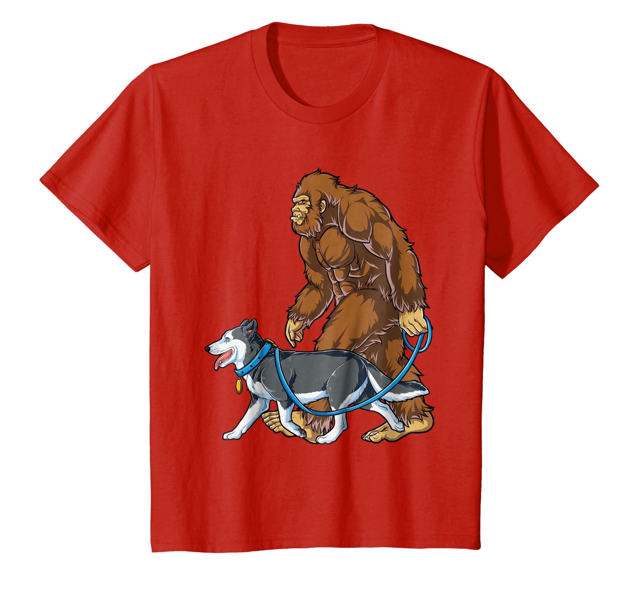 43e16f45 Amazon.com: Bigfoot Dog Walk Siberian Husky T shirt Sasquatch Kids Men:  Clothing