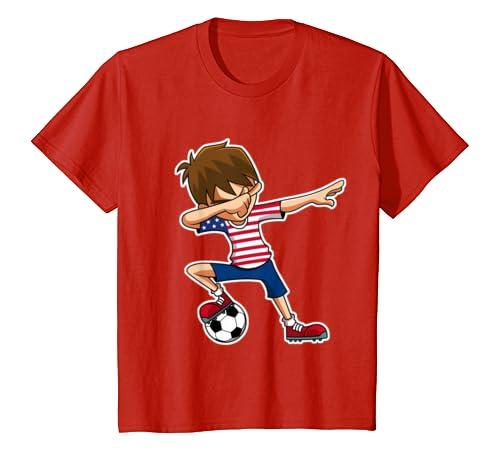 2072b274e Amazon.com: Dabbing Soccer Boy USA Shirt, United States Jersey, American:  Clothing