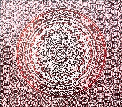 Exclusivo tapiz por Raajsee, diseño mándala, ropa de cama, multicolor, indio, hippy, para colgar en pared, colcha bohemia, algodón, Rojo, 220*240cms: Amazon.es: Hogar