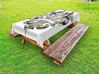 Ambesonne Fleur De Lis Outdoor Tablecloth, Eagles on Fleur De Lis Emblem Power Victorian Creative Illustration, Decorative Washable Picnic Table Cloth, 58