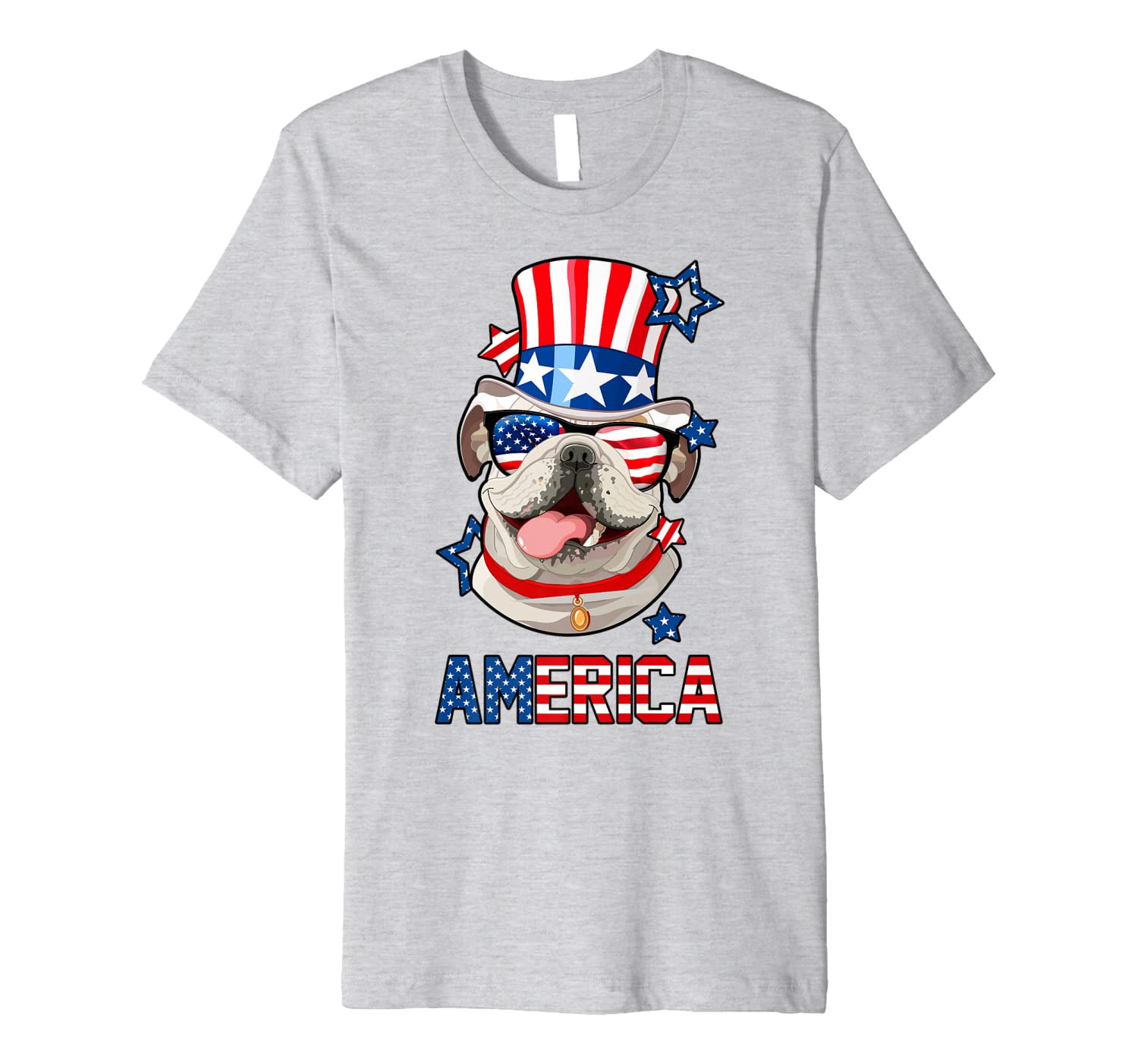 America English Bulldog Dog 4th Of July Mens Womens Usa Flag Premium T-shirt Unisex Tshirt