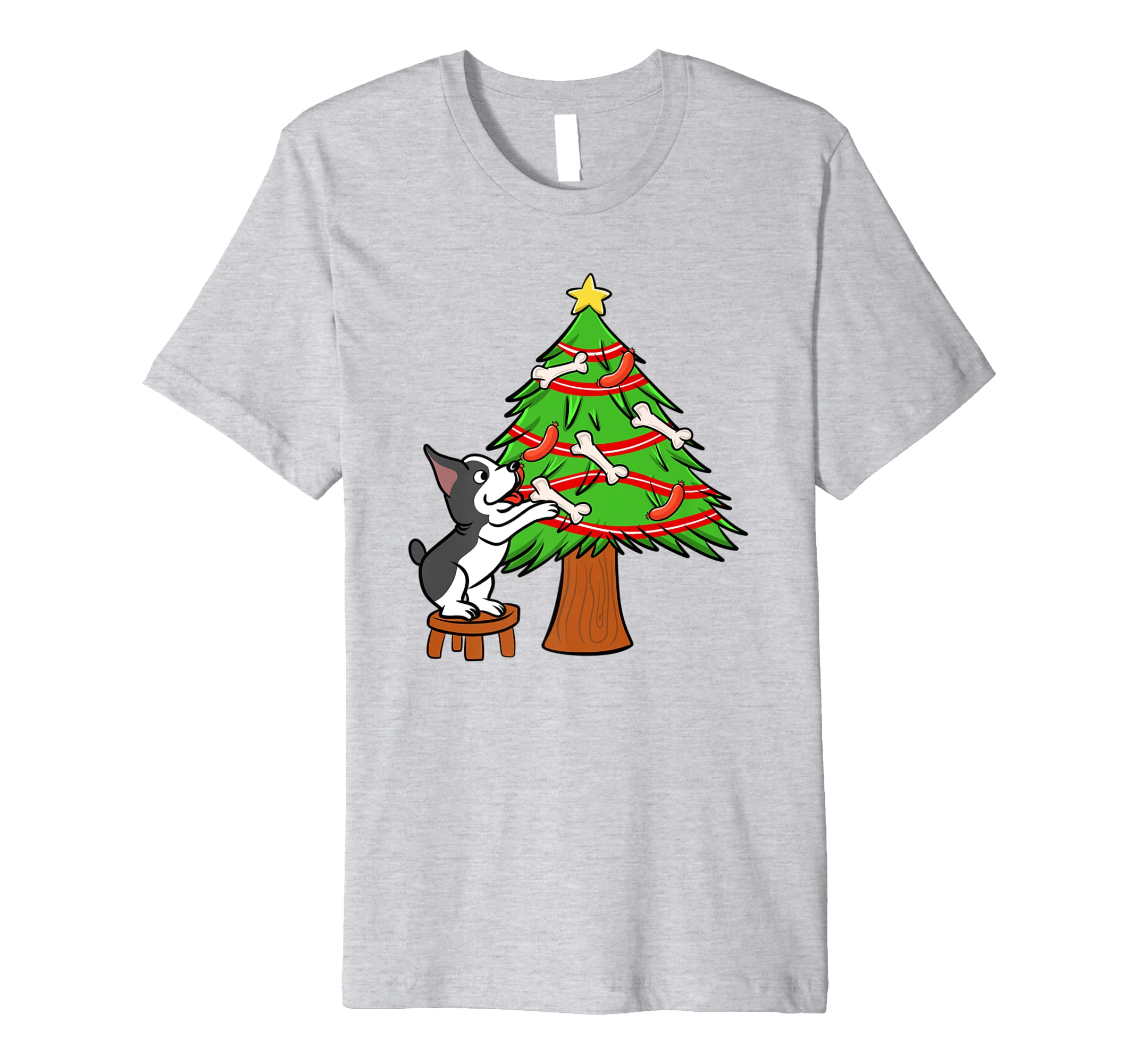Boston Terrier Hund Weihnachtsbaum Weihnachten T-Shirt: Amazon.de ...