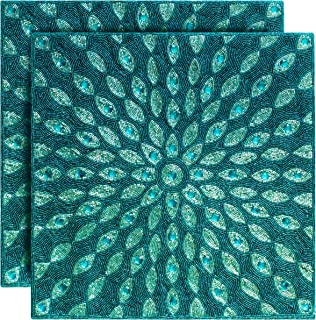 COTTON CRAFT - 2 Pack - Peacock Hand Beaded Decorative Pillow Cover - 16