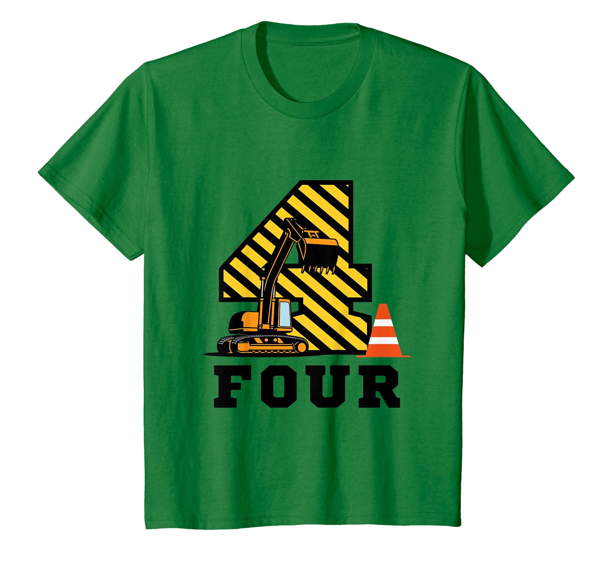 Amazon Kids Construction Birthday Boy Shirt 4 Years Old Clothing