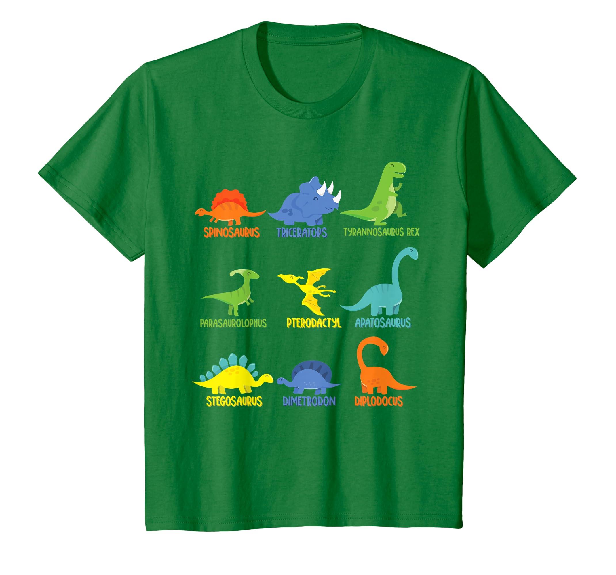 946024e6 Amazon.com: Cute Dinosaur Guide Graphic T-Shirt with Dino Names: Clothing