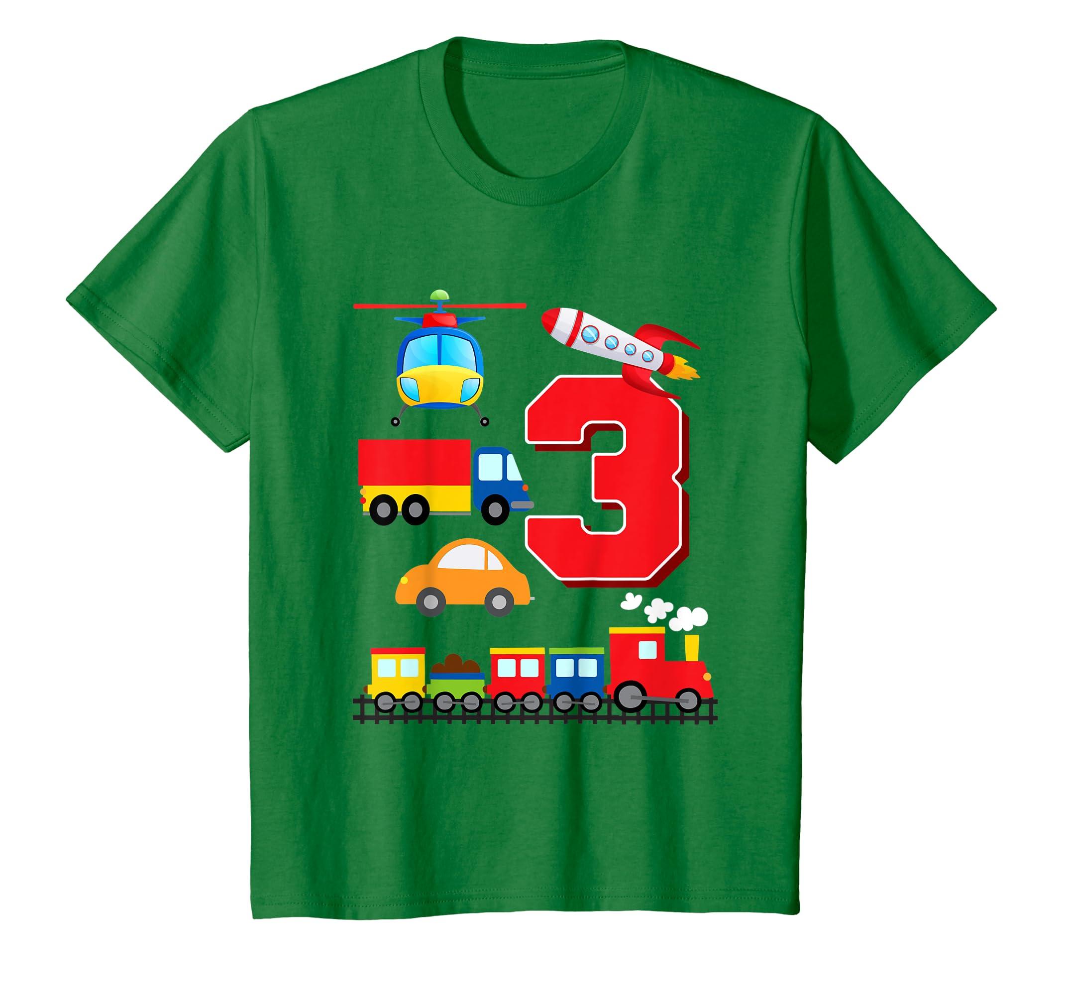 Amazon Kids Boys Transportation 3rd Birthday T Shirt Trains Space Trucks Clothing