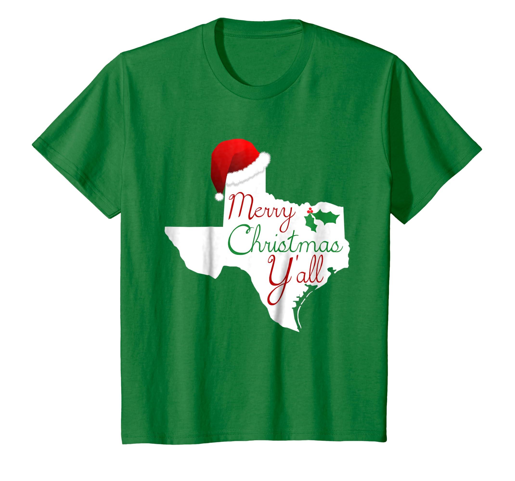 d2e9e5a7a6eb Amazon.com: Texas Christmas Shirt - Merry Christmas Y'all Texas XMas Tee:  Clothing