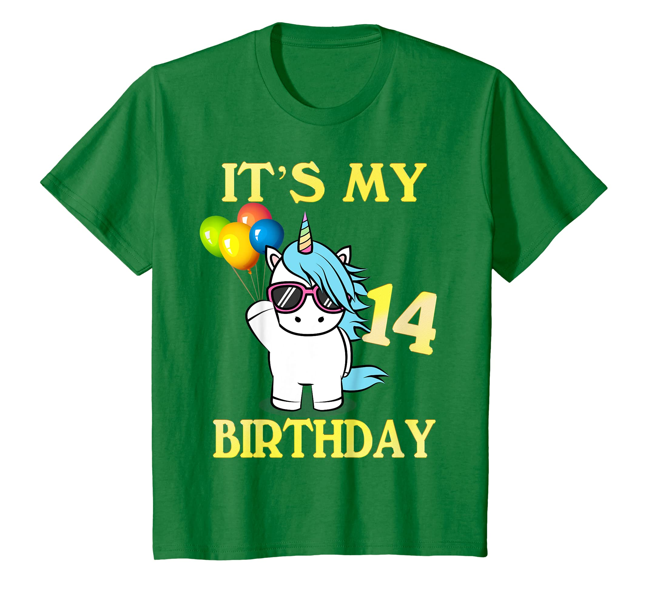 Amazon Kids Gift For 14 Years Old Shirt 14th Its My Birthday Unicorn Clothing
