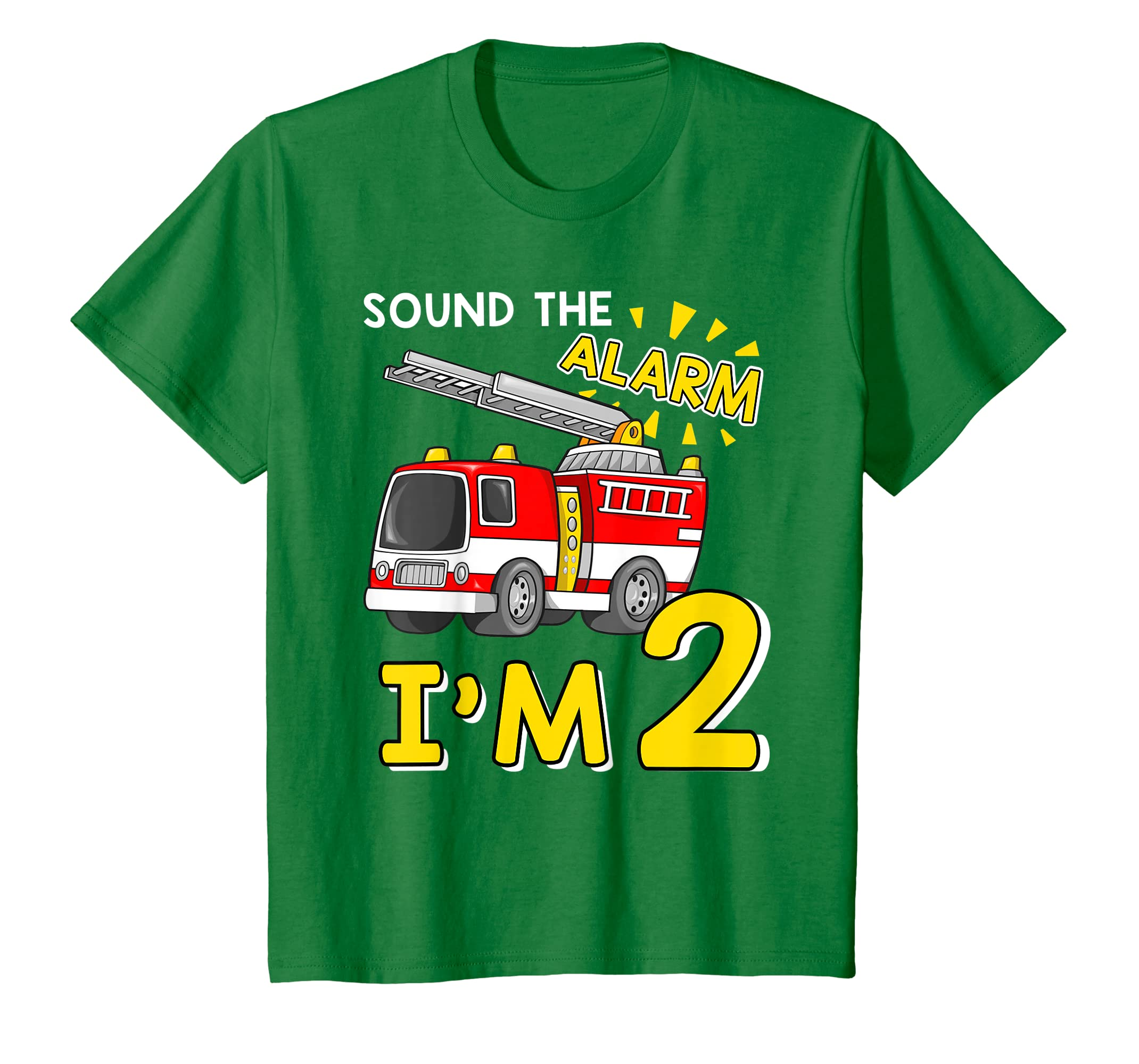abb6e8fdf Amazon.com: Kids Sound The Alarm I'm 2 Year Old Fire Truck 2nd Birthday  Shirt: Clothing