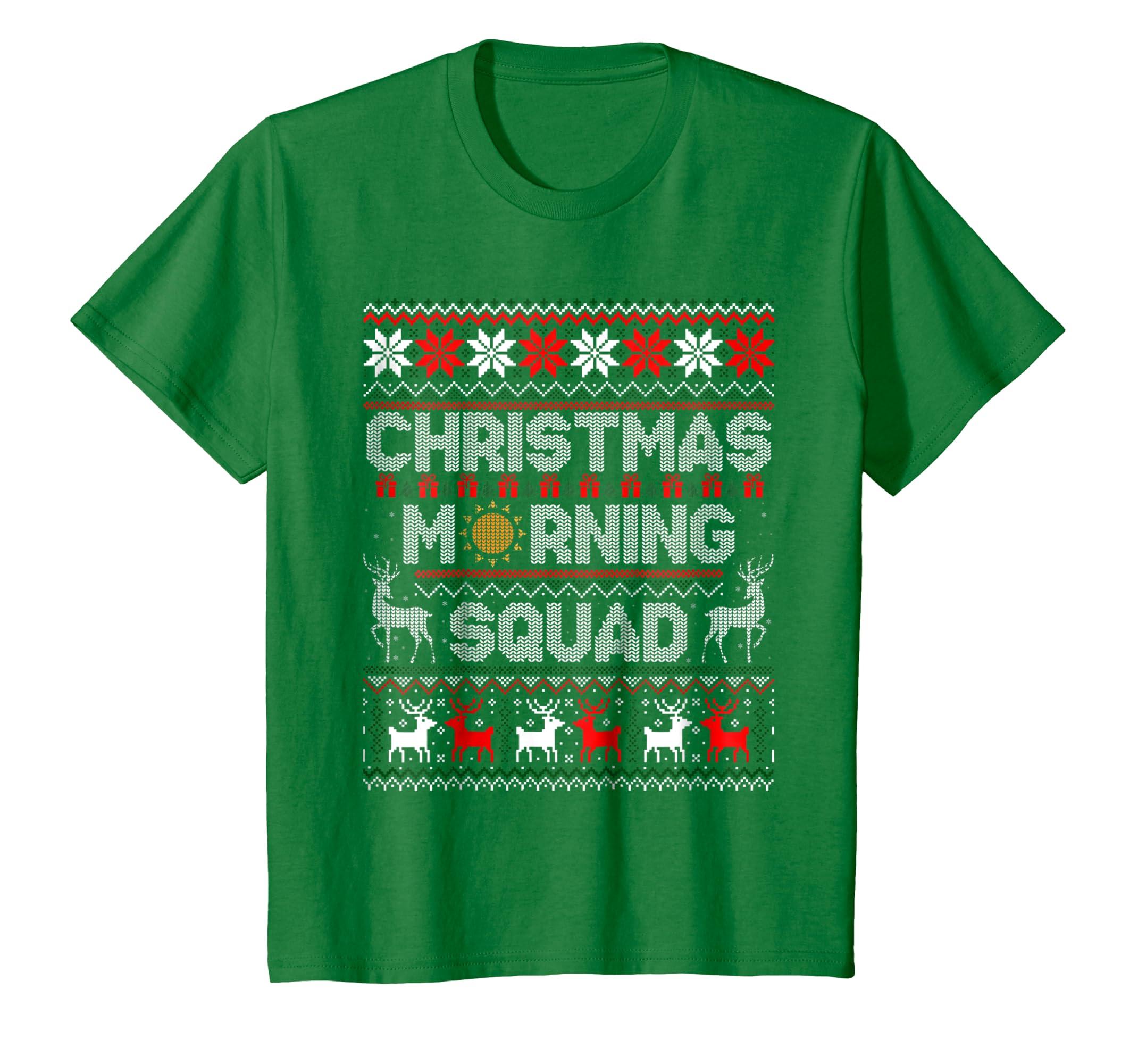 30abc945f01fd Amazon.com: Christmas Morning Squad Ugly Xmas Sweaters Shirt: Clothing