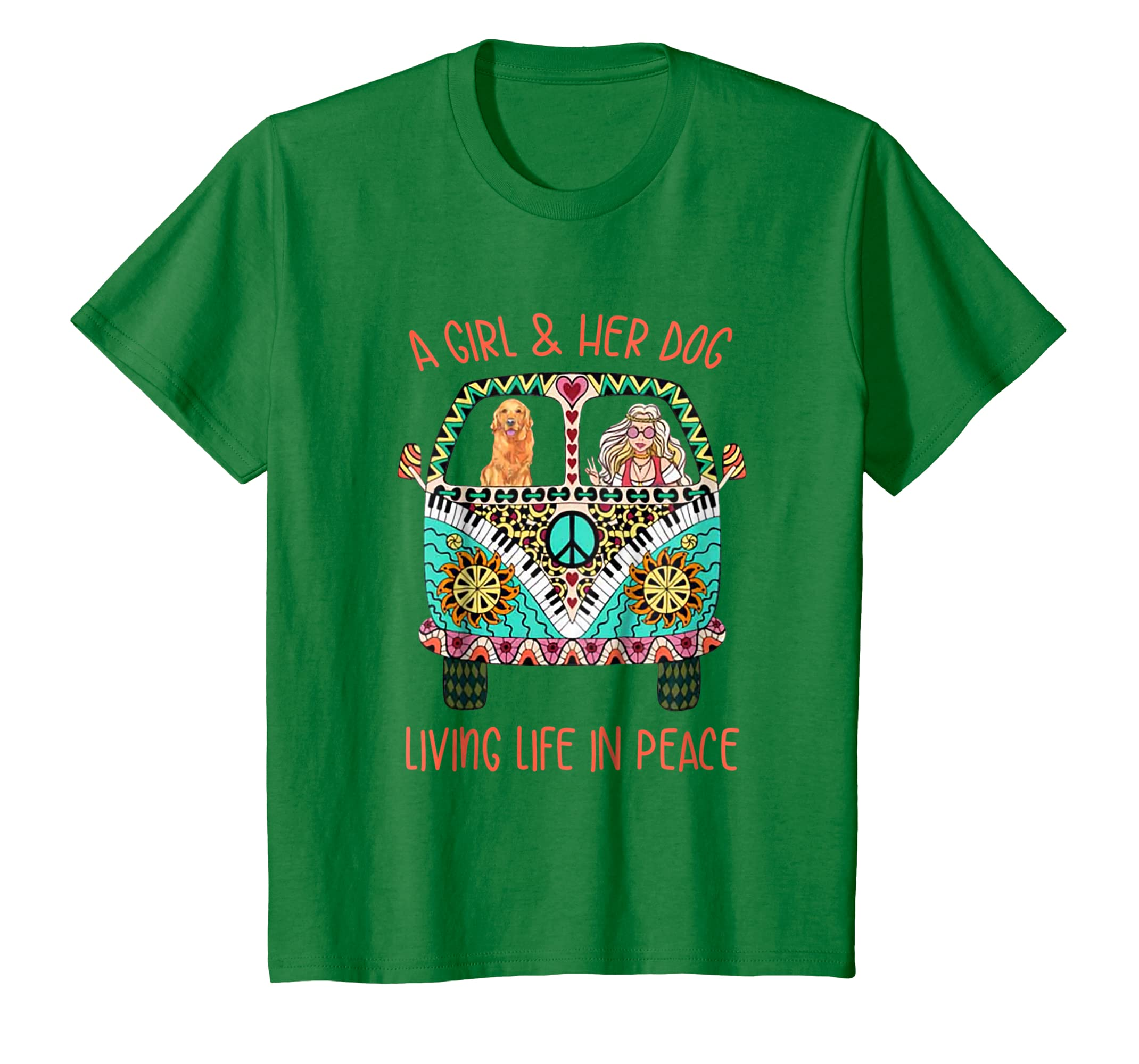 A Girl And Her Dog Living Life In Peace Hippie Dog Shirt