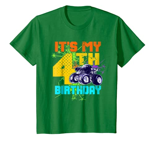 Kids 4 Year Old Birthday Shirt Boy Monster Truck 4th Tee