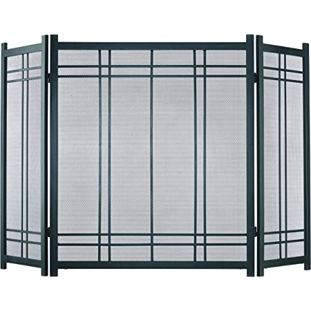 3-Panel Fireplace Screen Black Mission Style Hearth Cover Metal Steel Wenge Fire