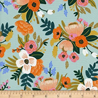 Cotton + Steel Rifle Paper Co Rayon Challis Amalfi Lively Floral Mint Fabric by The Yard