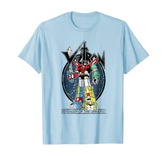 Voltron Retro Defender Colorful Distressed Graphic T-Shirt light blue