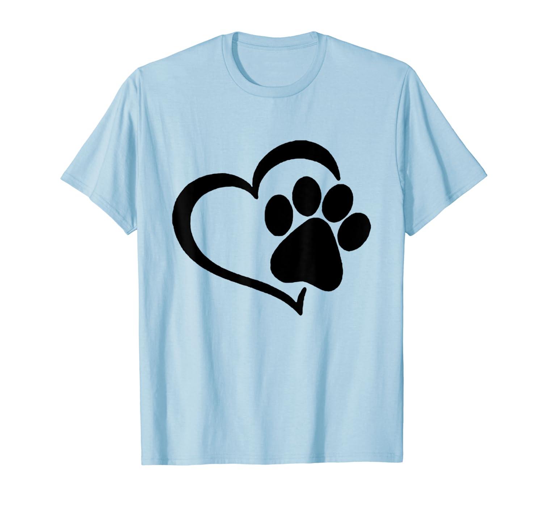 Heart Paw Shirt - I Love Dogs Paw Print Heart Dog Puppy T-Shirt-ANZ