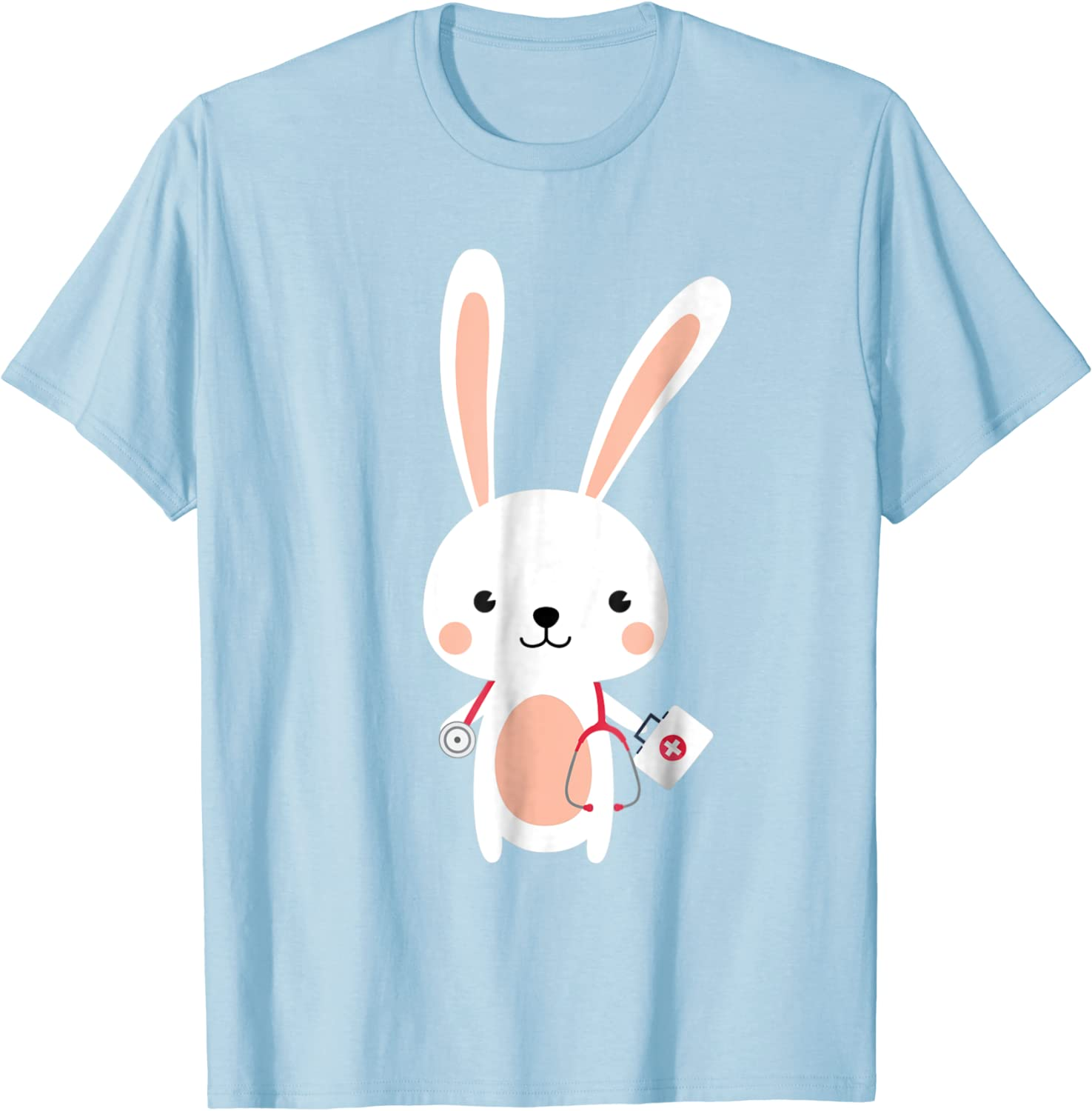 Nurse Tshirts for Women Womens V-Neck Easter Cute Bunny Printed Working T-Shirt Workwear Scrub/_Tops with 2 Pockets