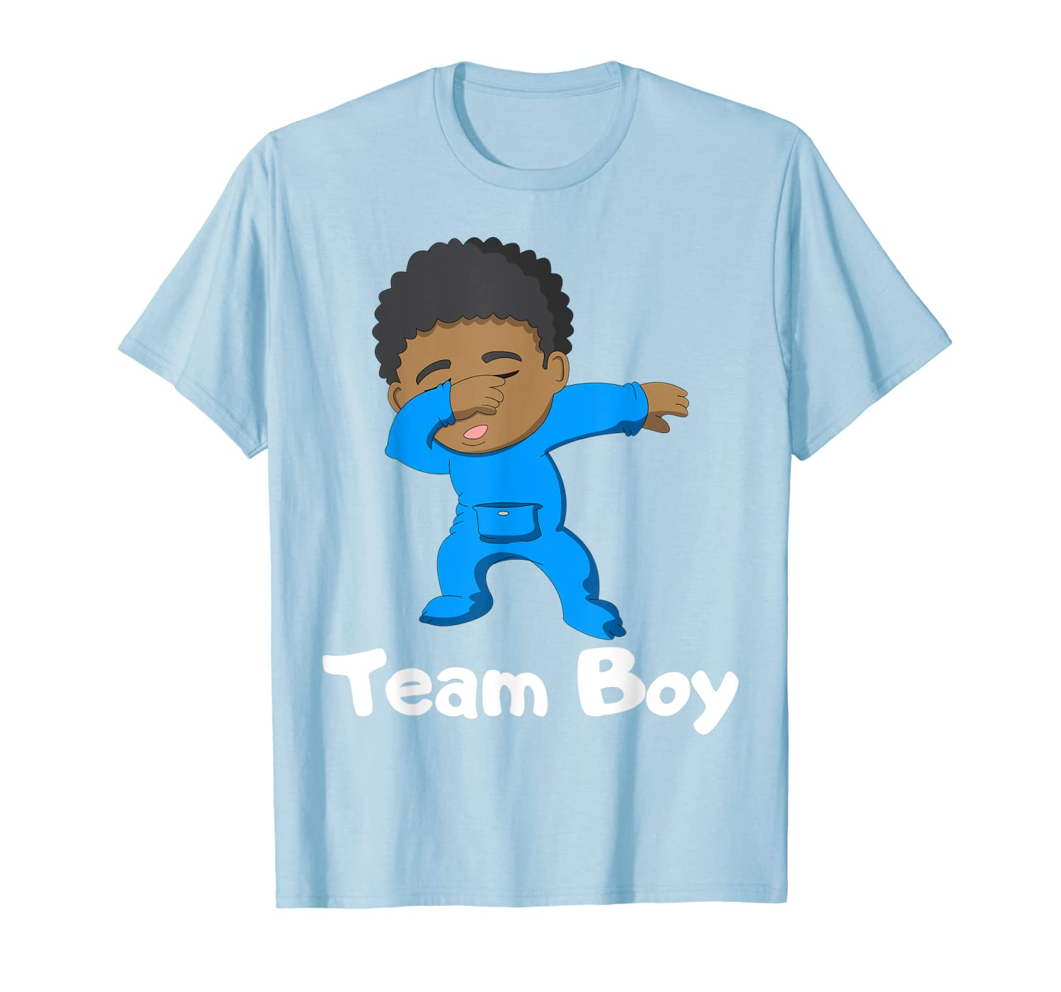 Gender Reveal Party Team Boy Cute Dabbing Black Baby Tee-Loveshirt