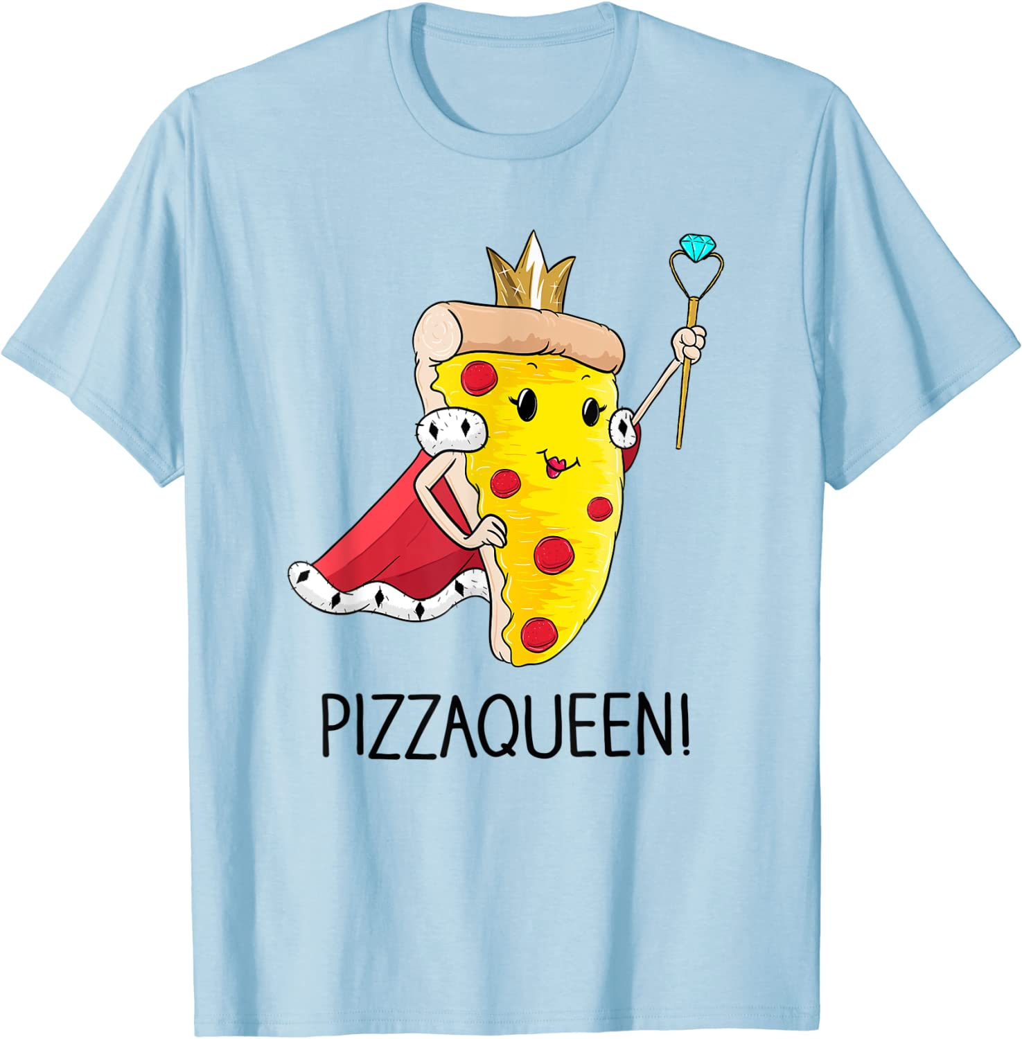 Kids Funny Pizza Queen Shirt salami pizza fast food girl T-Shirt