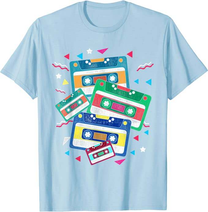 Light Blue 80s Cassettes T-shirt for Adults