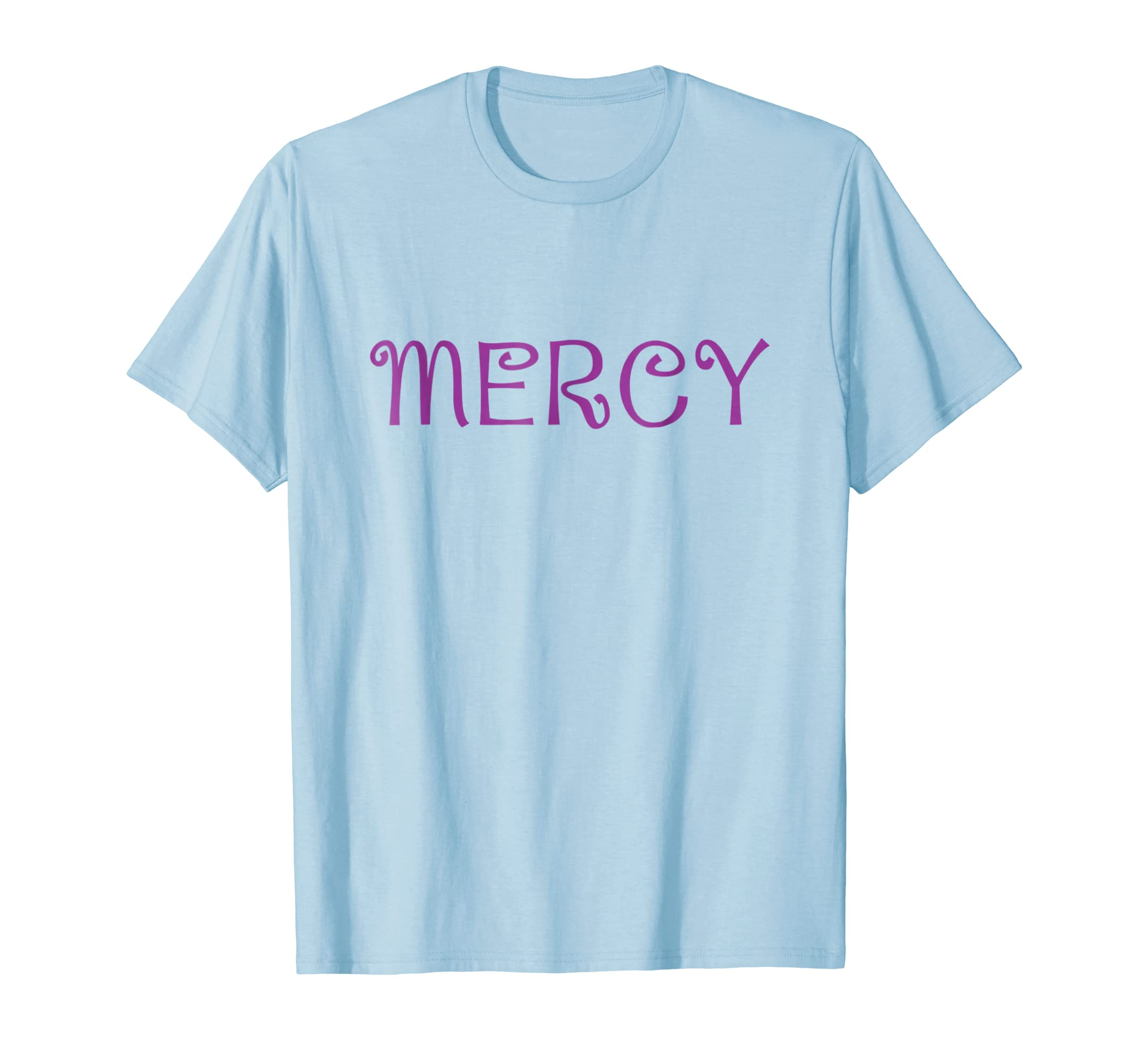 T Shirt that says the word   MERCY   with cute purple text-azvn