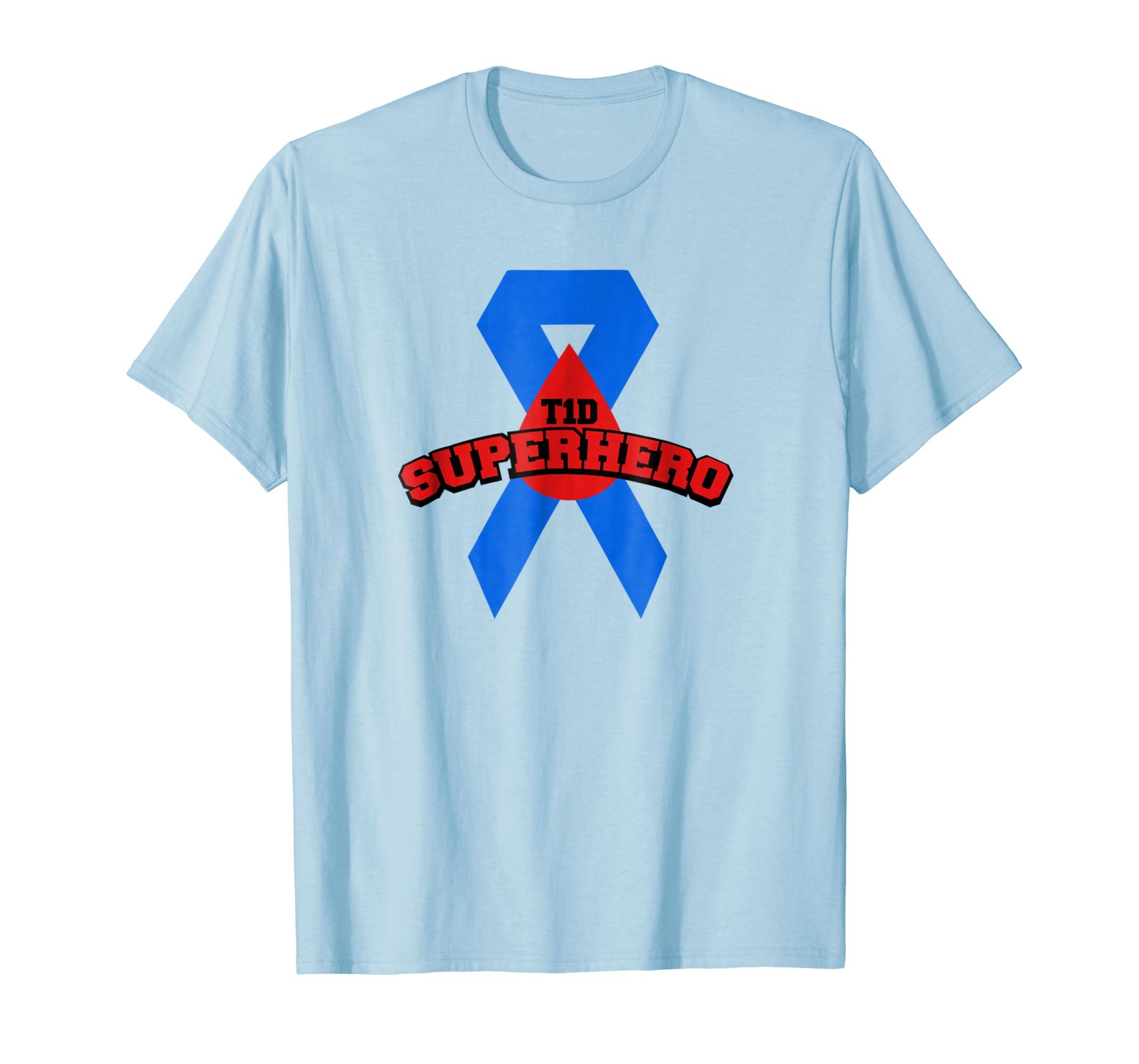 T1D Superhero type1 t1 Diabetes T Shirt Ribbon for Men Women-azvn