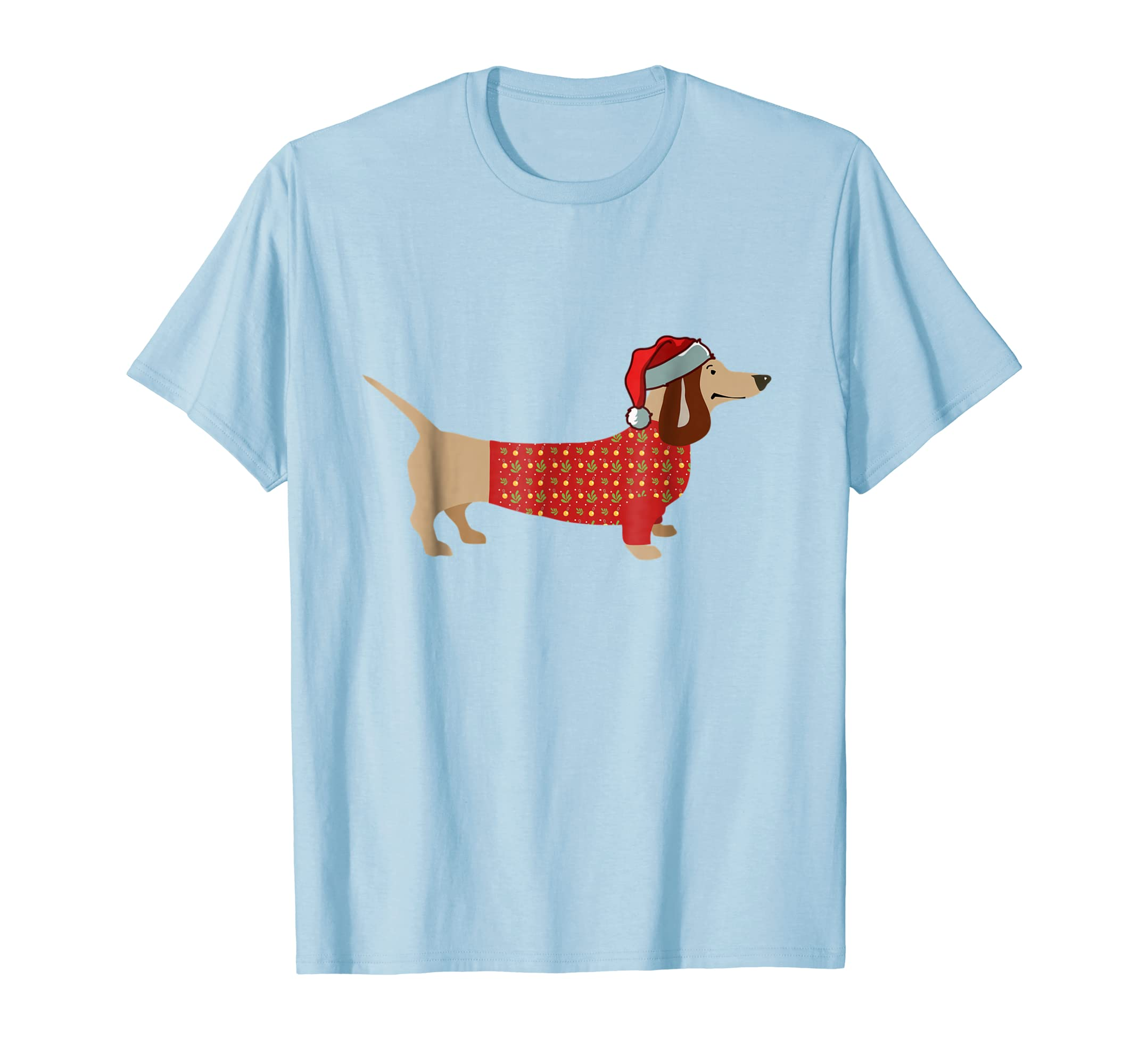 Christmas Weiner Daschund T shirt Doxie in Dog Dress-azvn