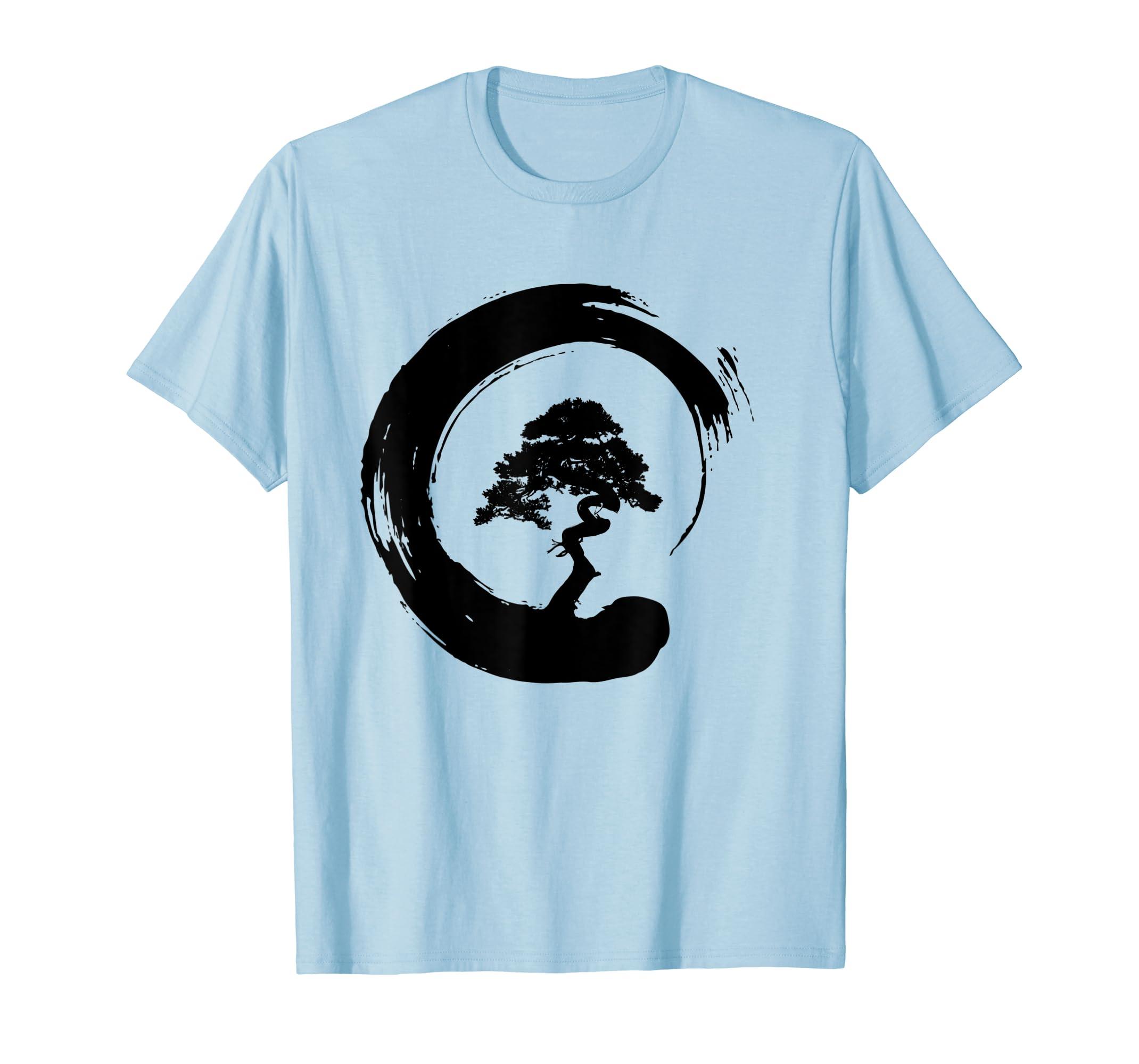 Bonsai Tree Enso Circle – Buddhist Zen Calligraphy T-Shirt-Yolotee