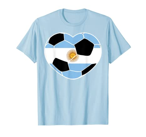 fe39a9b3daf Image Unavailable. Image not available for. Color  Argentina Soccer Ball  Heart Jersey Shirt Argentina Football