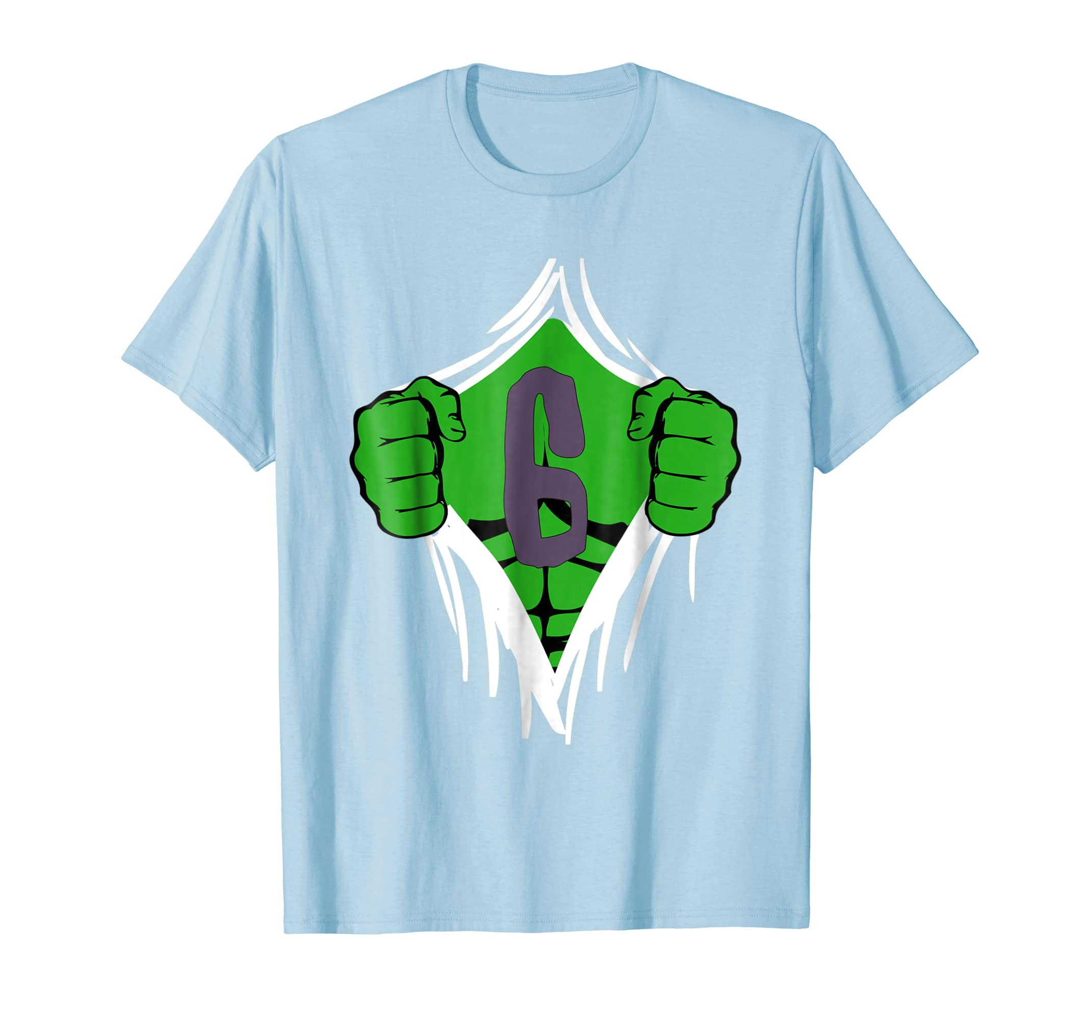 Green Man Chest Superhero Birthday Shirt For 6 Year Old Boys