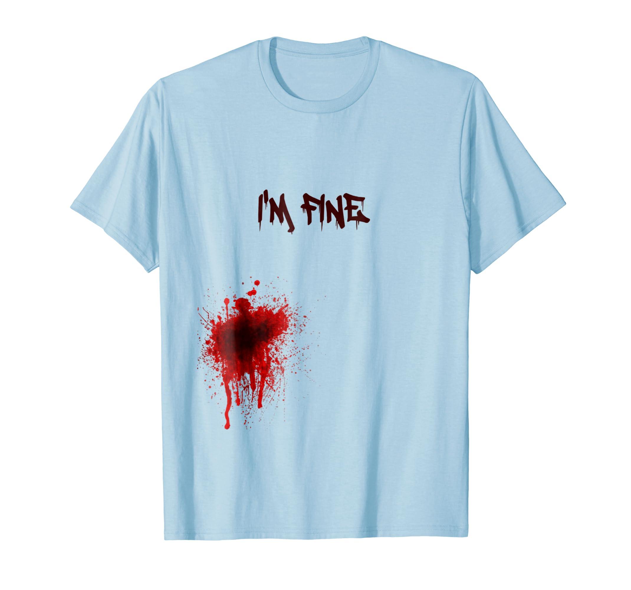 2018 I'm Fine Graphic Zombie Bite Bloody Halloween T Shirt