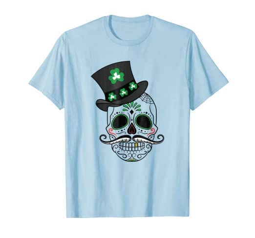 bb103c247 Amazon.com: Skull Green ST. Patrick's Day Irish Sugar Clover Tshirt ...