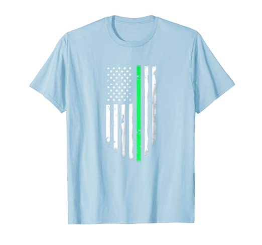 7d08fee796 Image Unavailable. Image not available for. Color  Thin Green Line American  Flag T-Shirt Cool Usa Flags Top Tee