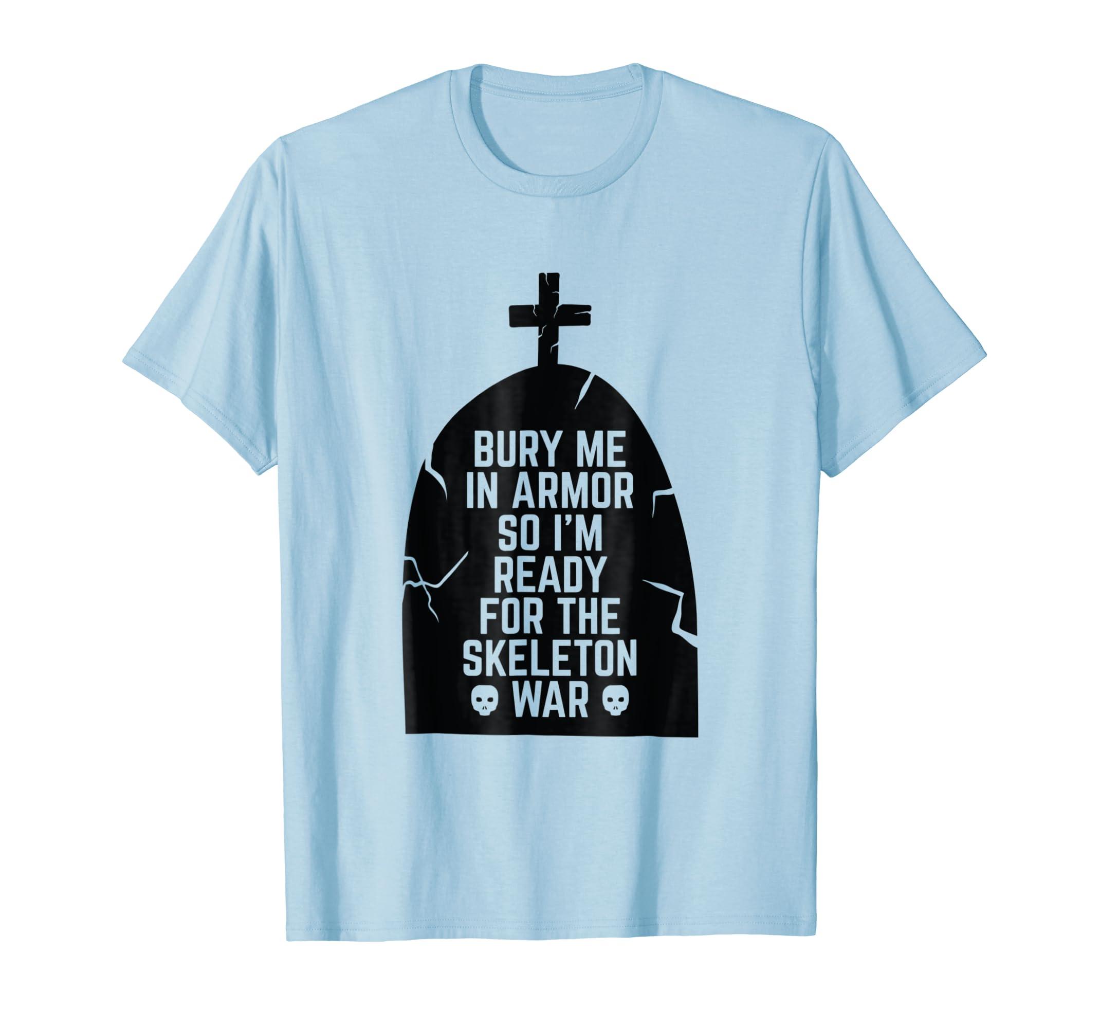 Halloween Skeleton Army War Tombstone Cross Grave T Shirt