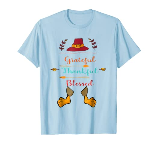 Amazon com: Thanksgiving Grateful Thankful Blessed T-Shirt