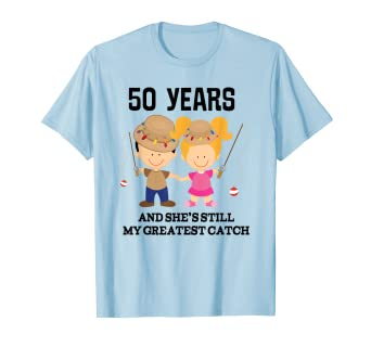 c038f592c Image Unavailable. Image not available for. Color: Funny 50th Anniversary  Gift Greatest Catch T-shirt
