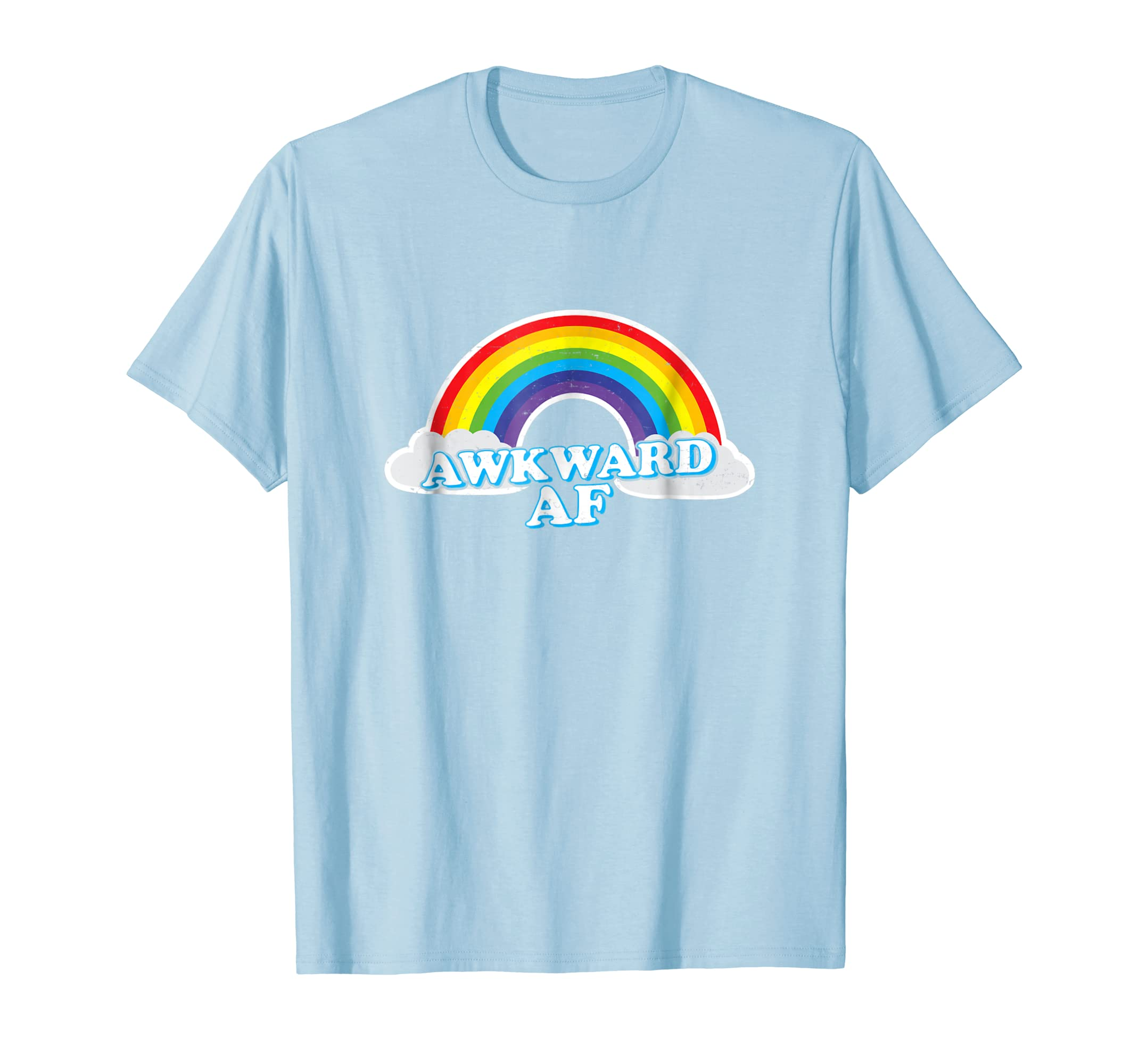 0a600c445 Amazon.com: Awkward AF Rainbow T-Shirt: Clothing