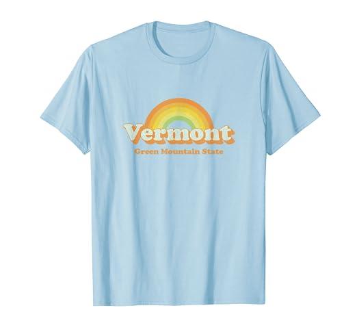 796f6b67cb762 Amazon.com: Retro Vermont T Shirt Vintage 70s VT Rainbow Tee Design ...
