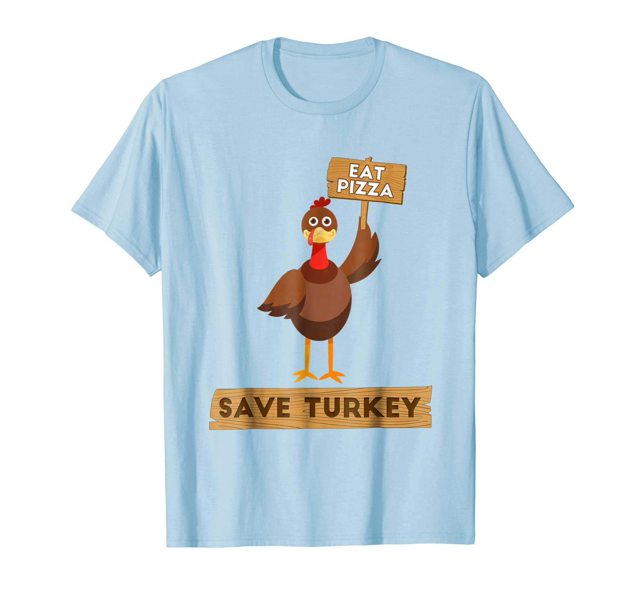 Eat Pizza Save Turkey Funny Thanksgiving T shirt Vegan Gift-azvn