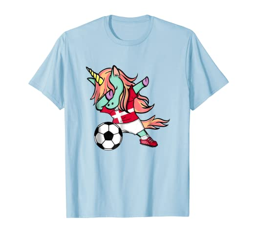dafb57413 Image Unavailable. Image not available for. Color  Dabbing Unicorn Soccer  Denmark Jersey Shirt Danish Football