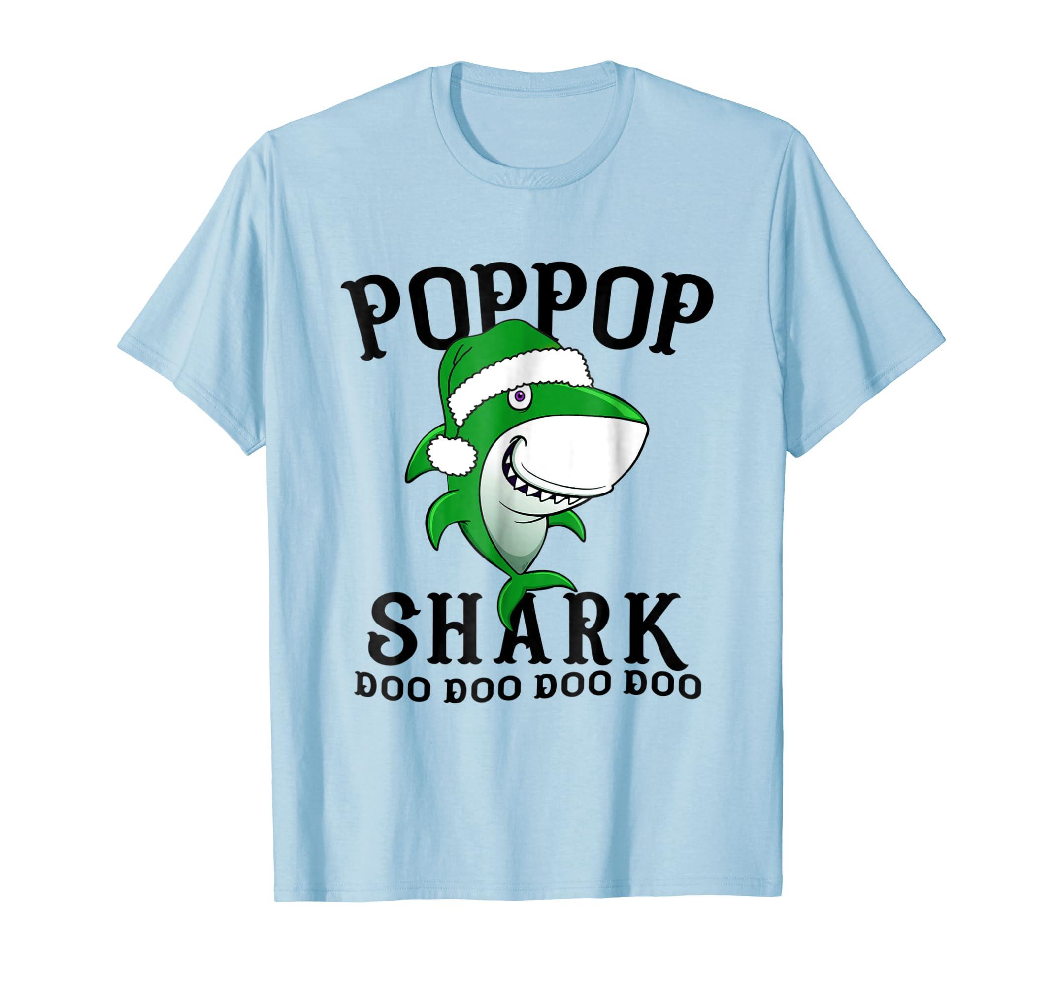 Poppop Shark T Shirt Grandma Grandpa Halloween Christmas-Bawle