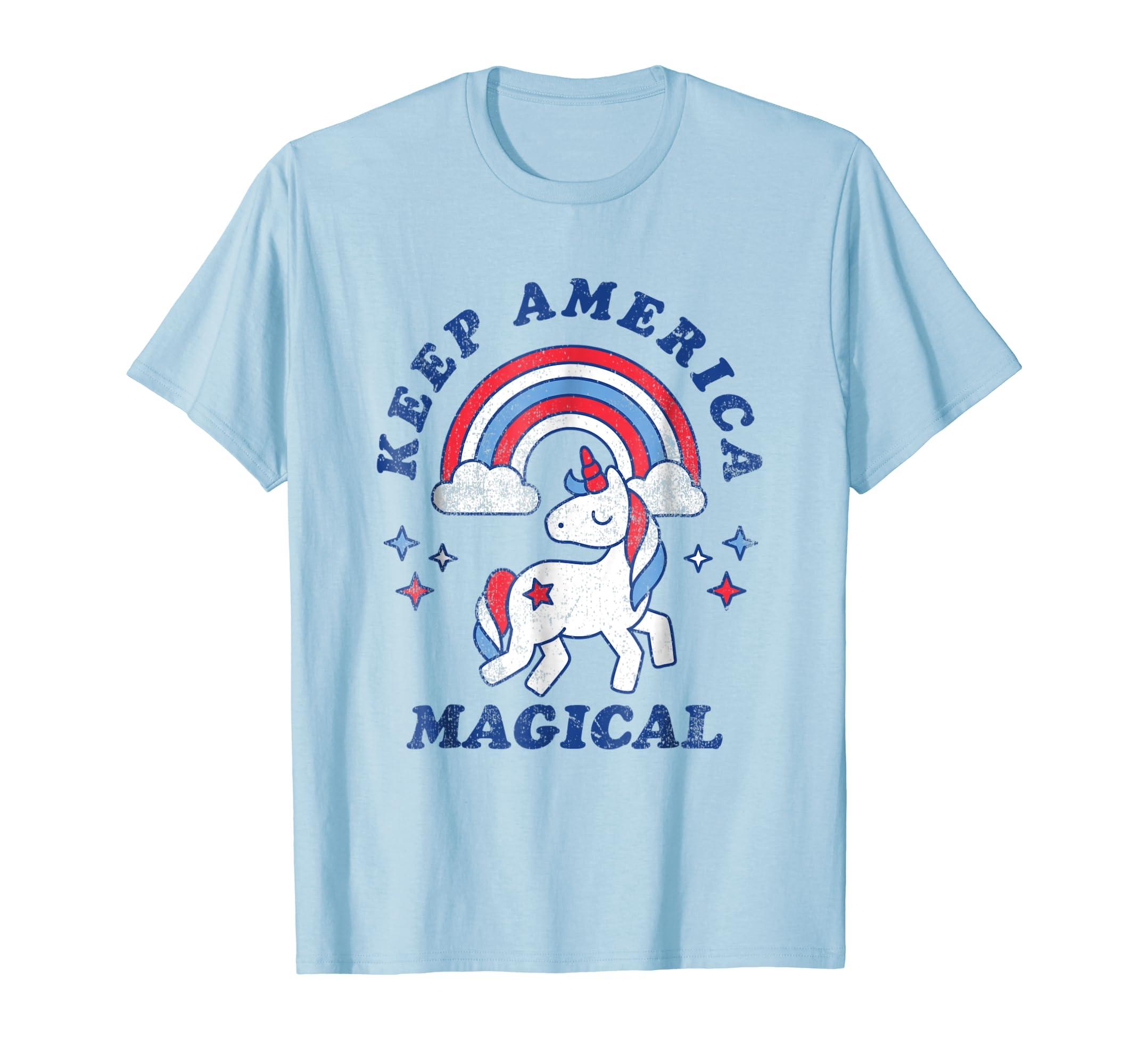 Amazon.com: Keep America Magical Unicorn Shirt - 4th of July T-Shirt ...