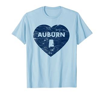 Auburn Alabama Heart Distressed Retro T-shirt